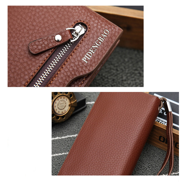 Men Universal 5.5in Mobile Phones Purse Pu Leather Wallet Coin Pocket Card Holder