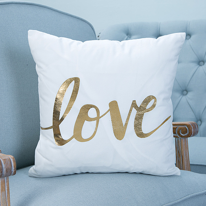 Honana WX-138 Super Soft Love Golden Pillowcases Plush Cotton Linen Home Cushions Pillow Cover