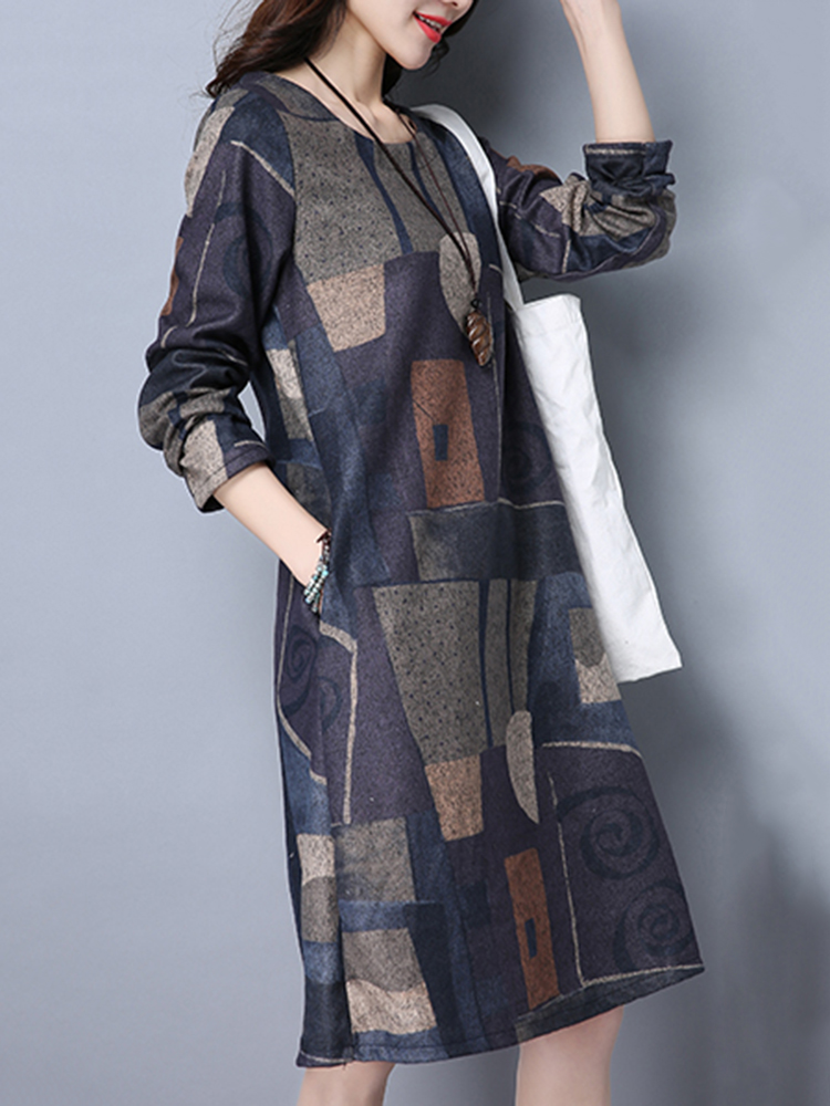 Vintage Women Long Sleeve Geometry Printed Loose O-Neck Pocket Dresses