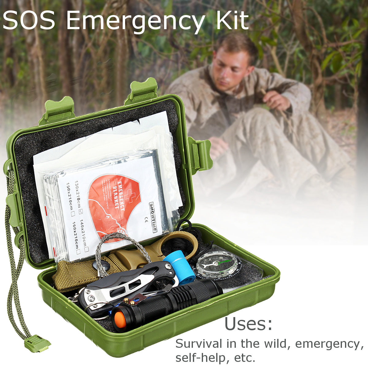 195Pcs Upgraded Emergency Survival Tools Kit Multi-Tools for Camping Hiking Hunting First Aid Supplies Survival Gear SOS