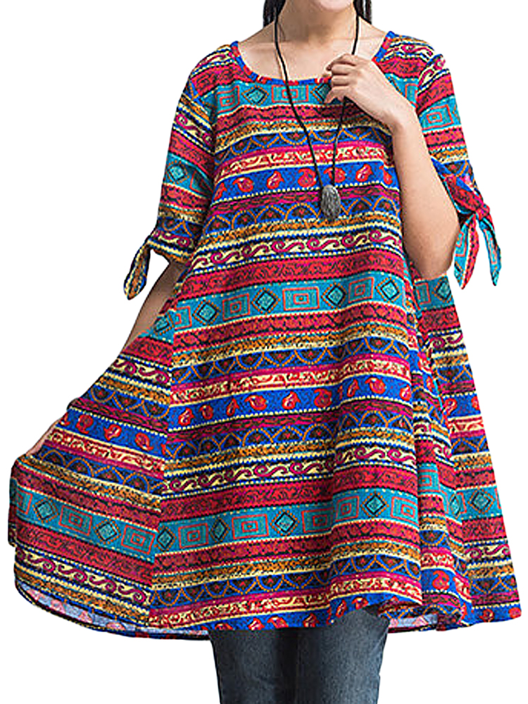 Folk Style Geometric Printed Dress