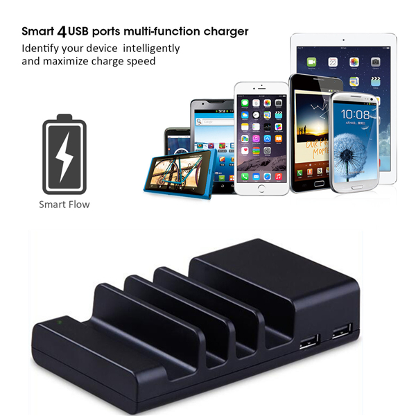 4USB Desktop Charger Sync Data Dock Cradle Stand Station For Tablet Cell Phone