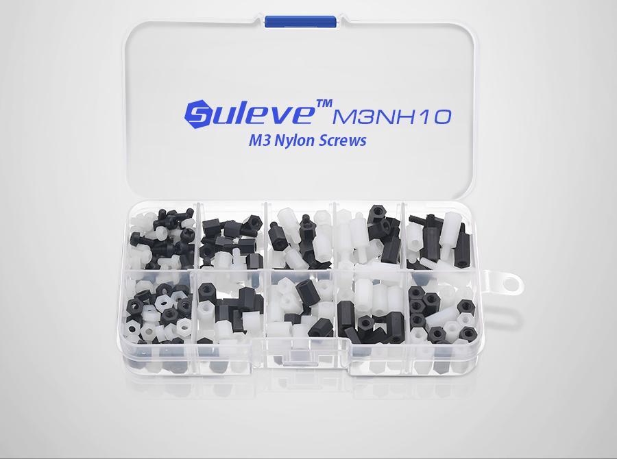 Suleve™ M3NH10 M3 Nylon Hex Screw Nut Spacer Standoff Assortment Kit Box Black and White 300pcs