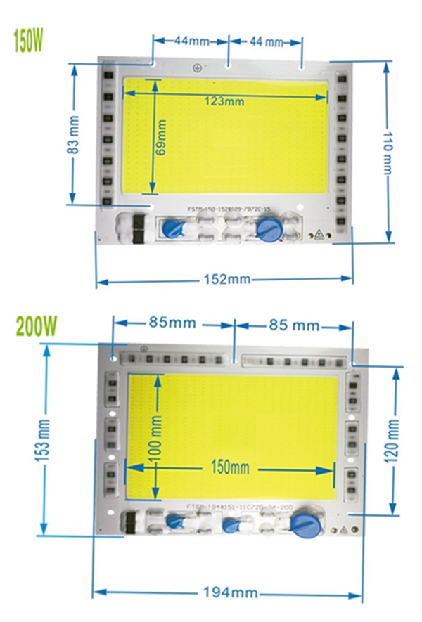 High Power 150W 200W Integrated COB LED Beads Chip Light Source Driverless For Floodlight AC190-240V