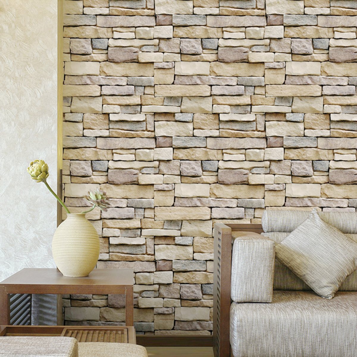 3D Wall Paper Brick Stone Pattern Sticker Rolls Self-adhesive Backdrop DIY Room Decor