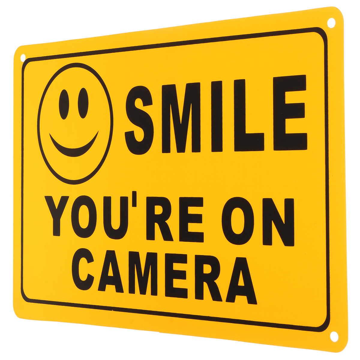 2Pcs SMILE YOU'RE ON CAMERA Warning Security Yellow Sign CCTV Video Surveillance Camera Sticker 28x18cm
