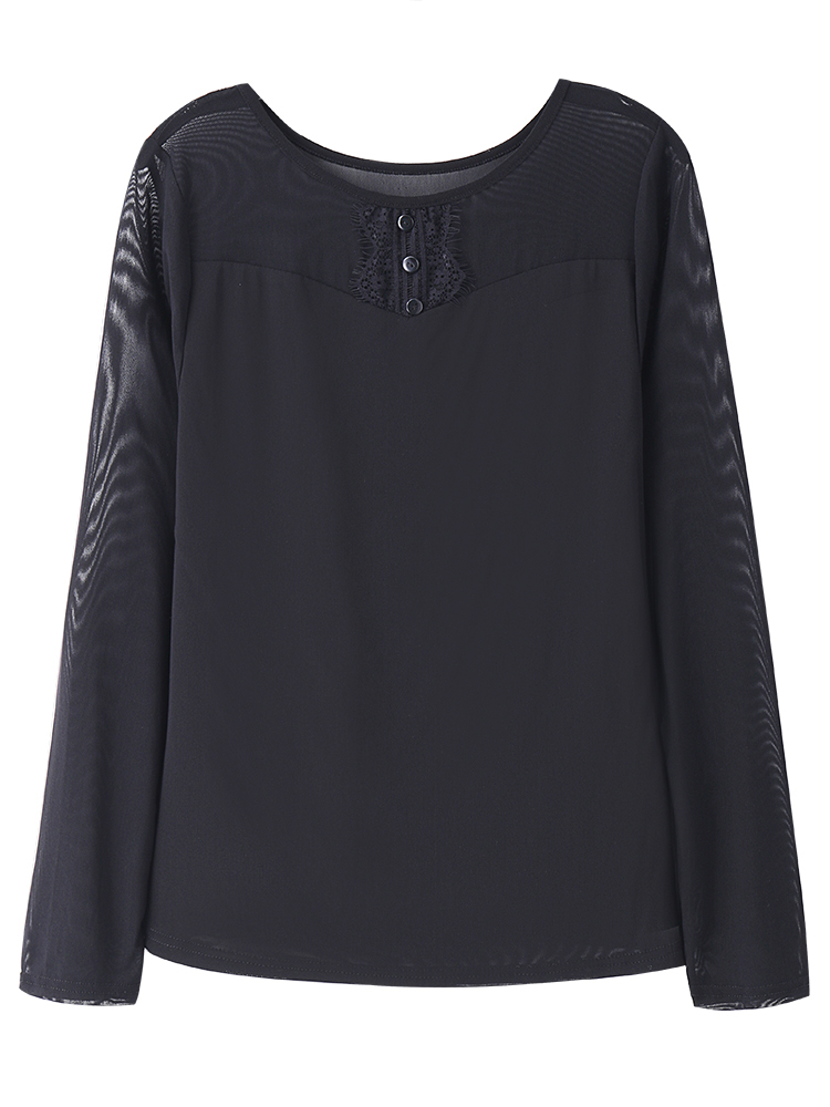 Elegant Women Black Slim Lace O-Neck Long Sleeve Basic T-Shirt