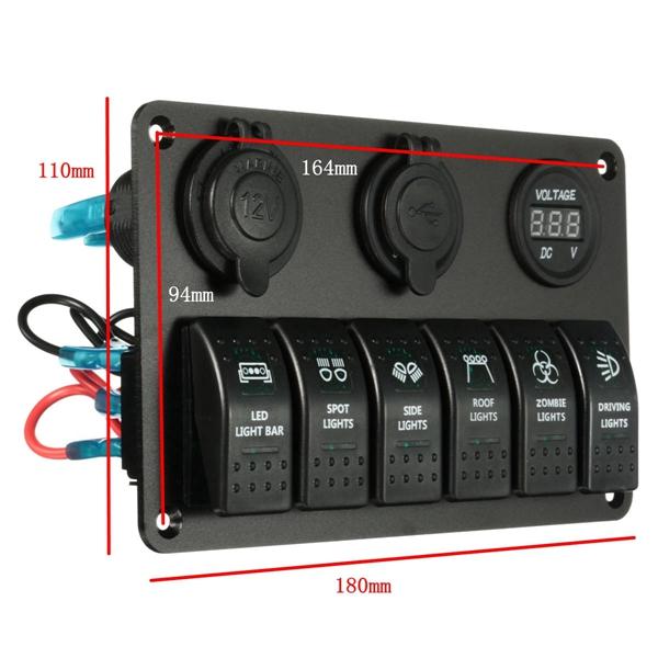 6 Gang Rocker Switch Panel Circuit &2 USB Socket Socket&Volt Meterr For Boat Marine
