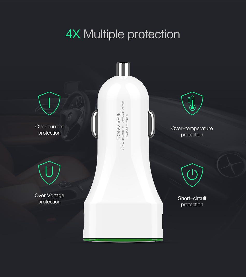 FLOVEME LED Indicator Dual USB Fast Car Charger For iPhone X 8Plus Oneplus 5t Xiaomi Mi A1 S8