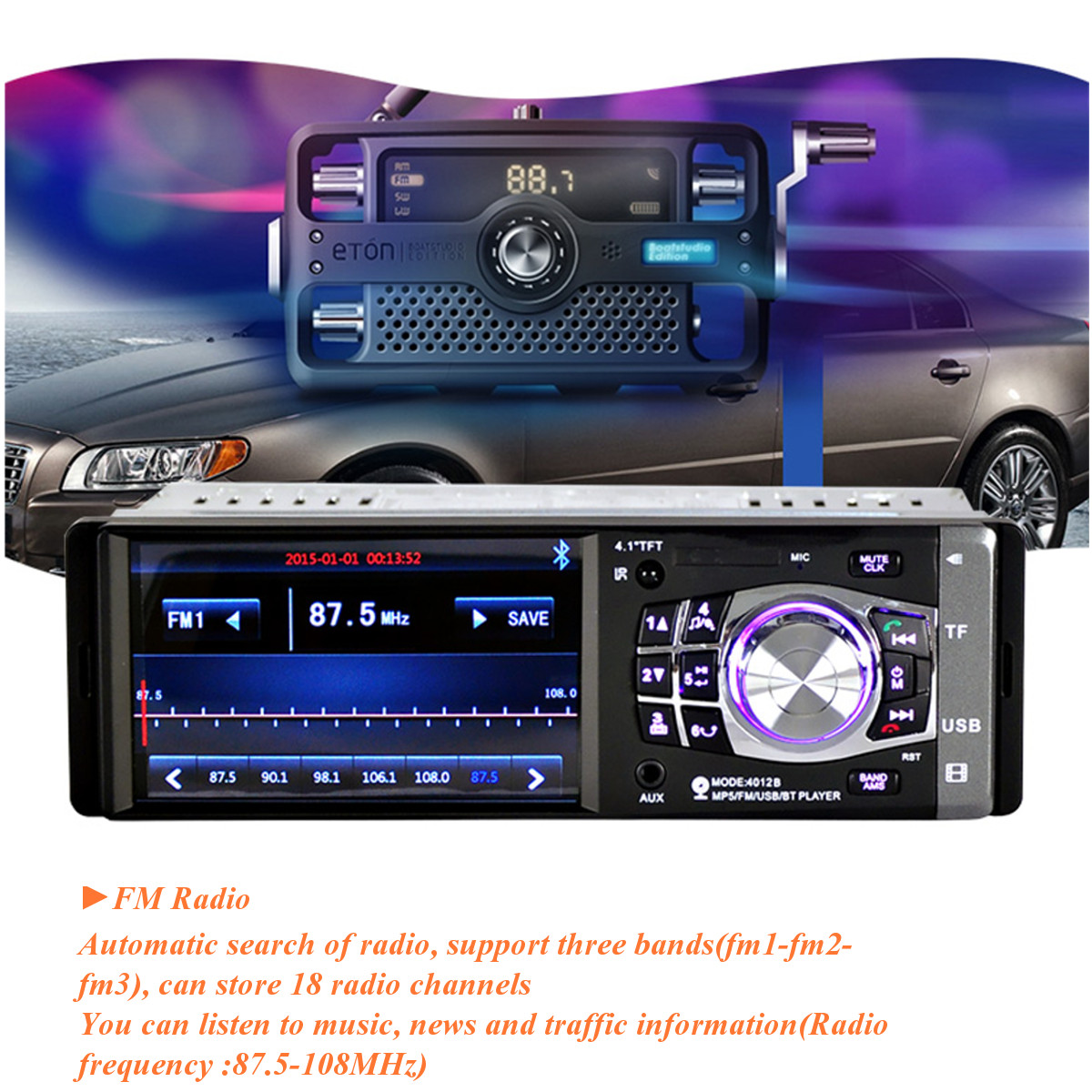 4.1 Inch Single One Din Stereo Car MP5 Player bluetooth Radio Support 4 LED Camera