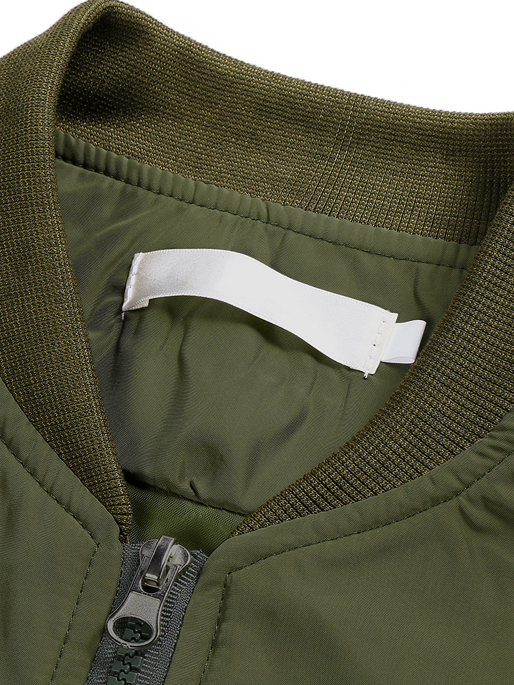 Casual Army Green Long Sleeve Short Flying Bomber Jacket