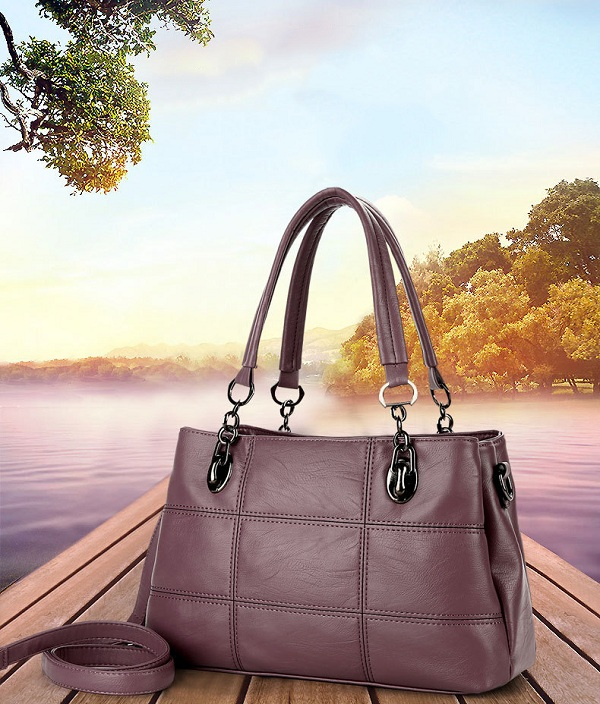 Women PU Leather High Quality Elegant Three Layer Handbag Shoulder Bag