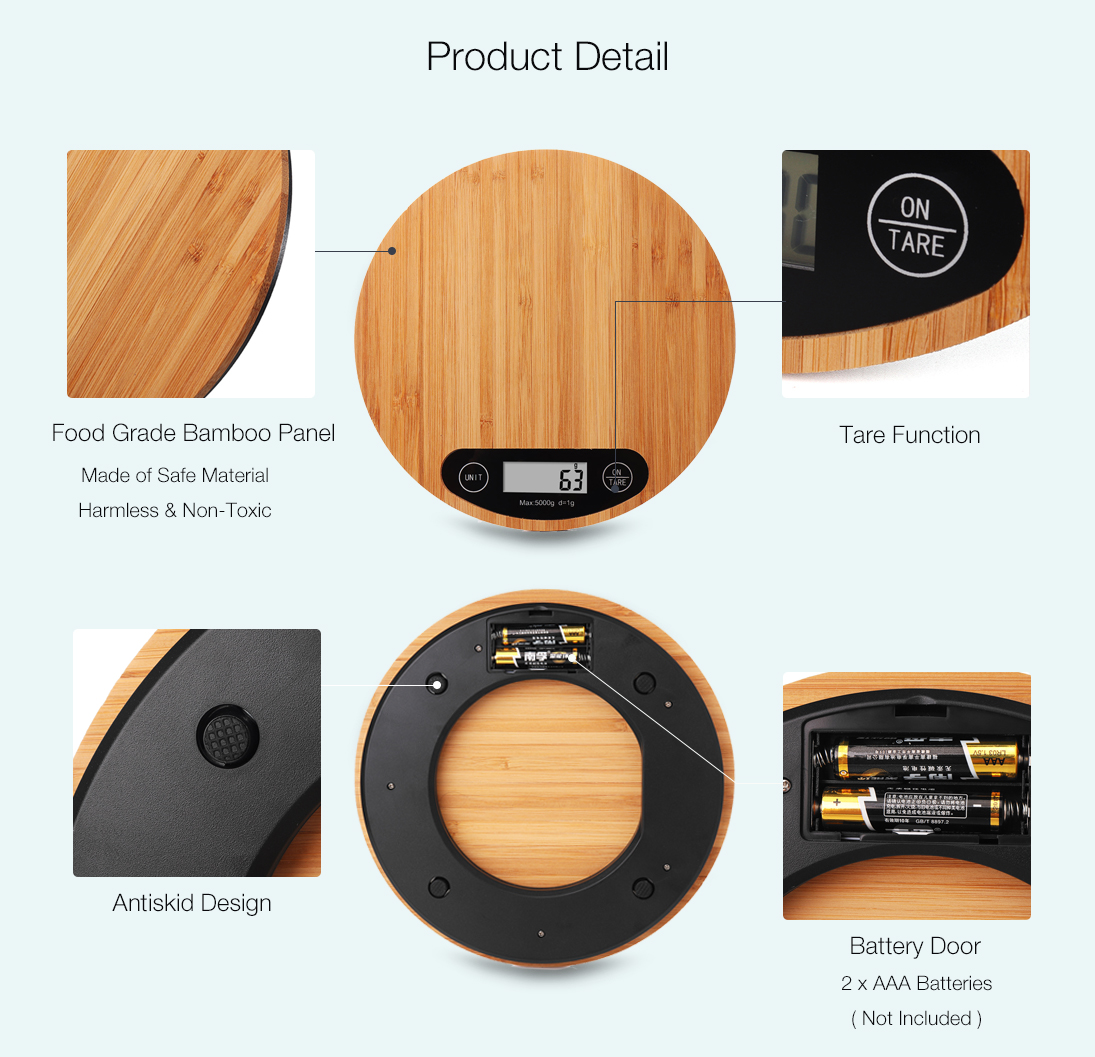 KCASA KG-20 Electronic Digital High Accuracy Round Bamboo Panel LCD Screen Unit Switch Kitchen Bake Scale