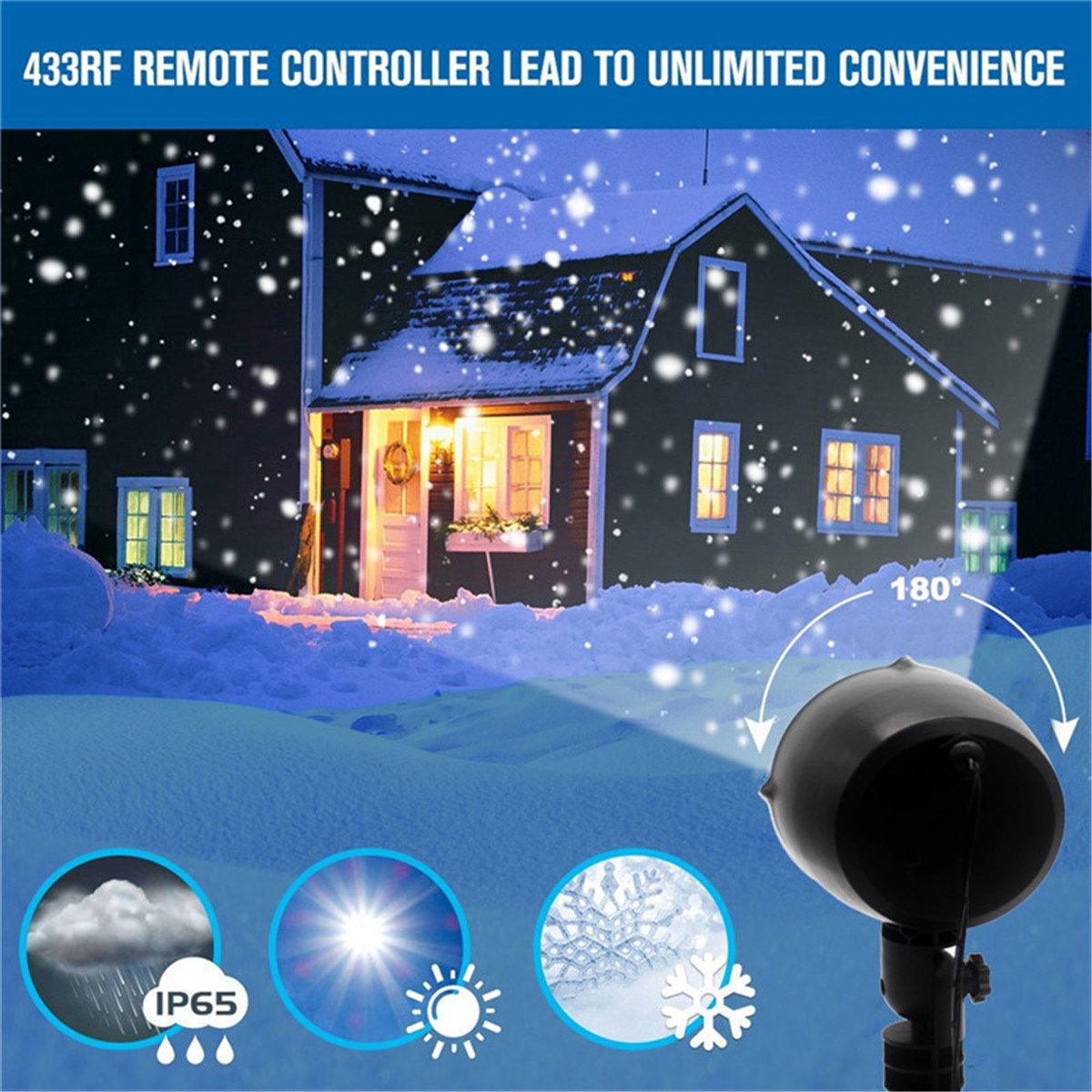5'' Snowflake Projector Light Outdoor Waterproof LED Laser Lamp Christmas Decor
