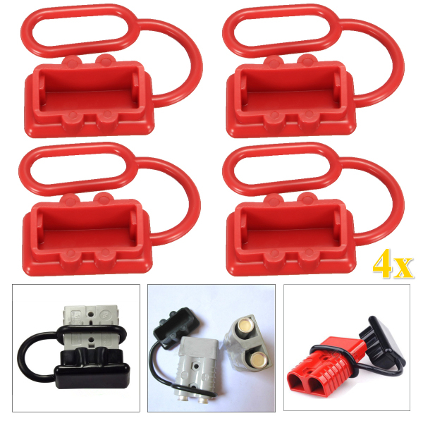 4Pcs 50A DC 12-24V Dust Cap Cover for Anderson Plug Cover Style Connectors Dust Cover Caps Red