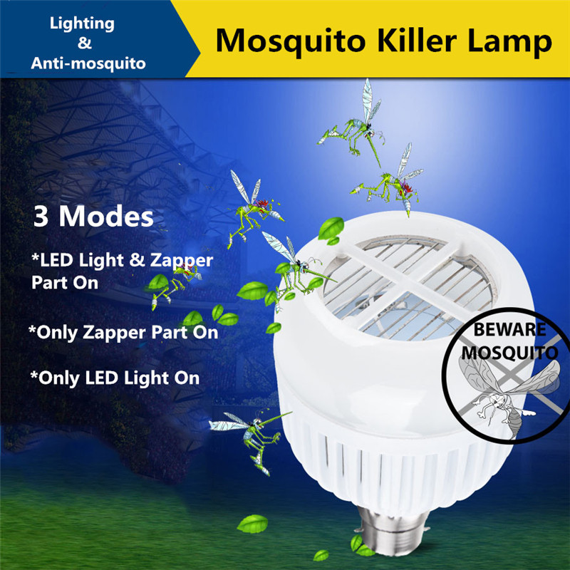 B22 15W Three Modes Anti-Mosquito Flying Moths Killer Insect Zappers LED Light Bulb AC85-265V