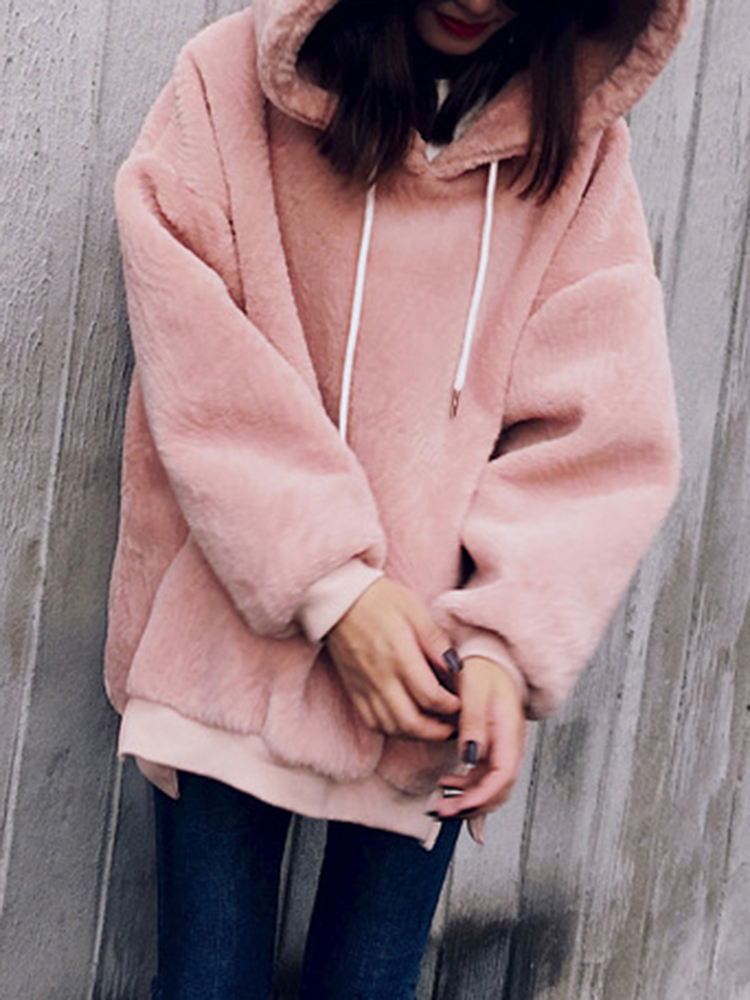 Thick Faux Fur Hooded Solid Color Long Sleeve Sweatshirt