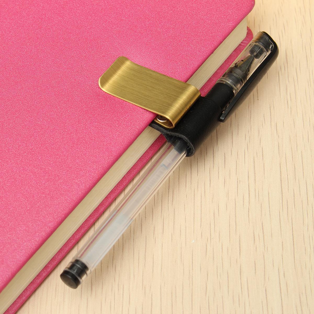 Stainless Steel Leather Notebook Clip Metal Pen Holder Paper Folder