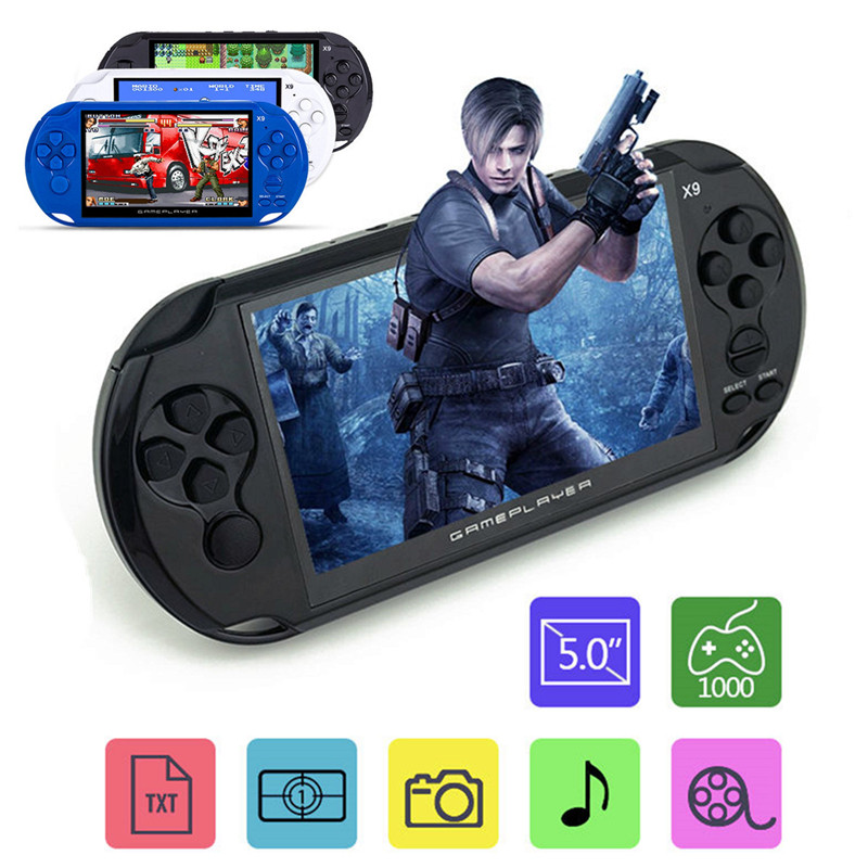 X9-S Rechargeable 5.0 inch 8G Handheld Retro Game Console Video MP3 Player Camera