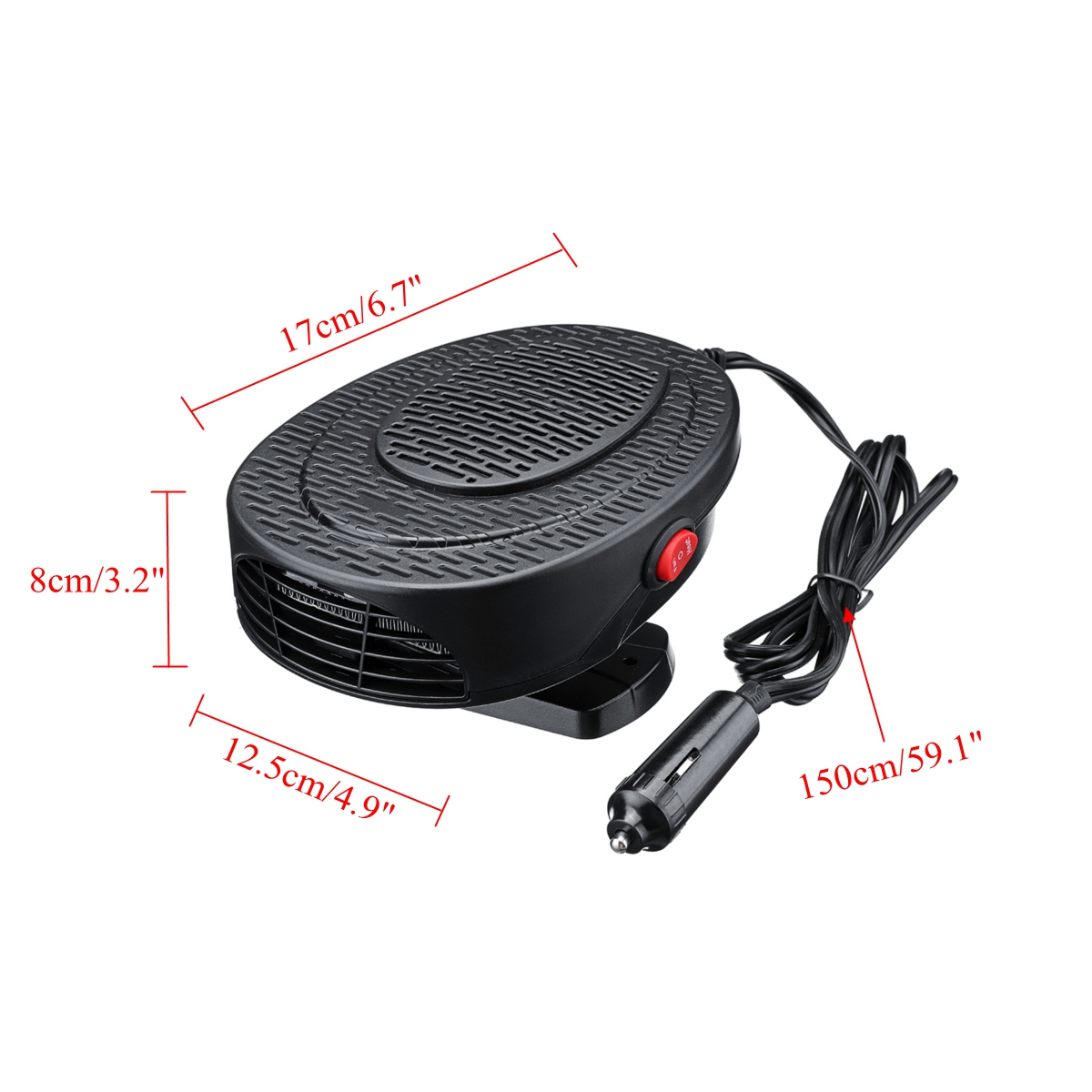 Yuauy Black Vehicle Car Heater and Cooling 2 in1 Fast Heating Defrosts Defogger 12V 150W Auto Ceramic Heater Fan 3-Outlet Plug in Cig Lighter Demister Fashion