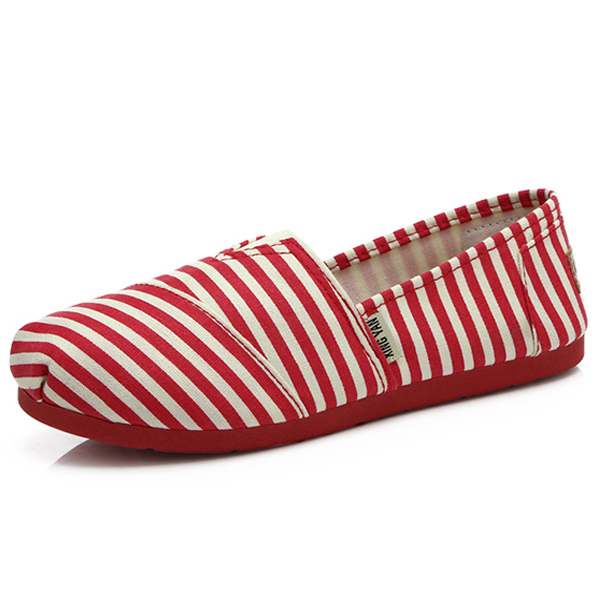 Women Canvas Flat Casual Low Top Comfortable Slip On Round Toe Flat Loafers Shoes