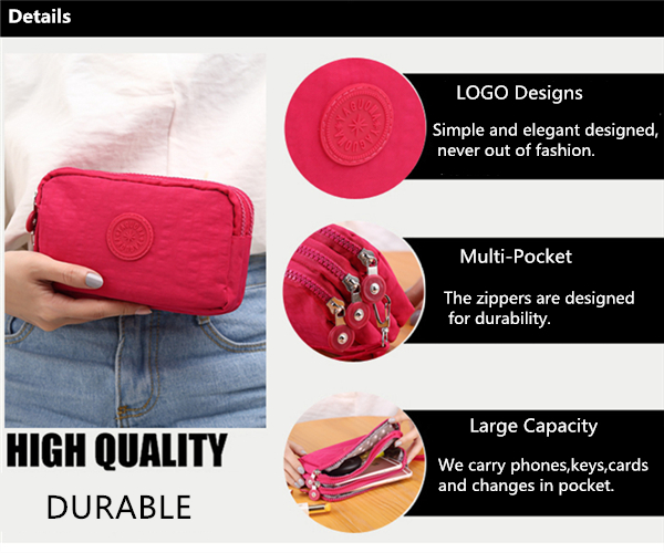Women Nylon Multi Pocket 6.0 Inch Phone Clutch Daily Capacity Wallet Coin Card Key Holder Purse