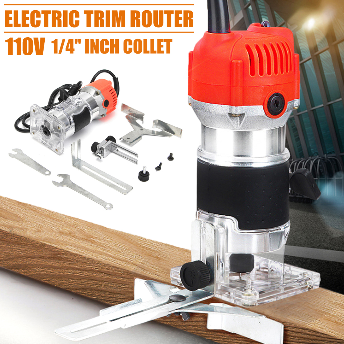 110V/220V 680W Trim Router Edge Woodworking Wood Clean Cuts Power Tool Set 33000RPM with Box