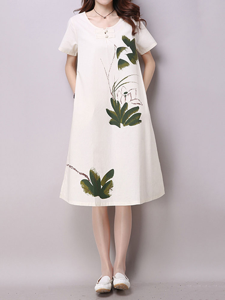 Chinese Style Women Brief Frog Printing Split Cotton Linen Dress