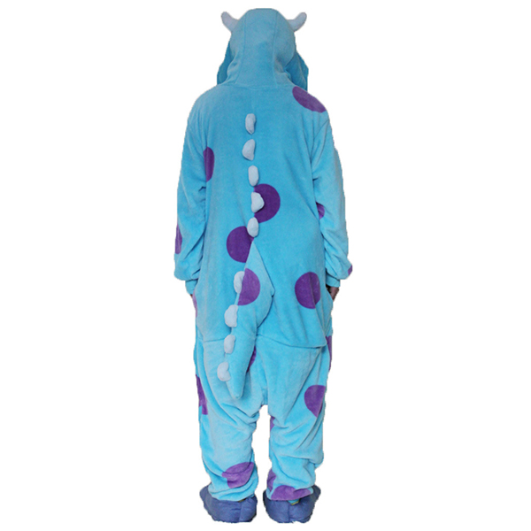 Dot Monsters Blue Cattle Cartoon Unisex Flannel Pajamas
