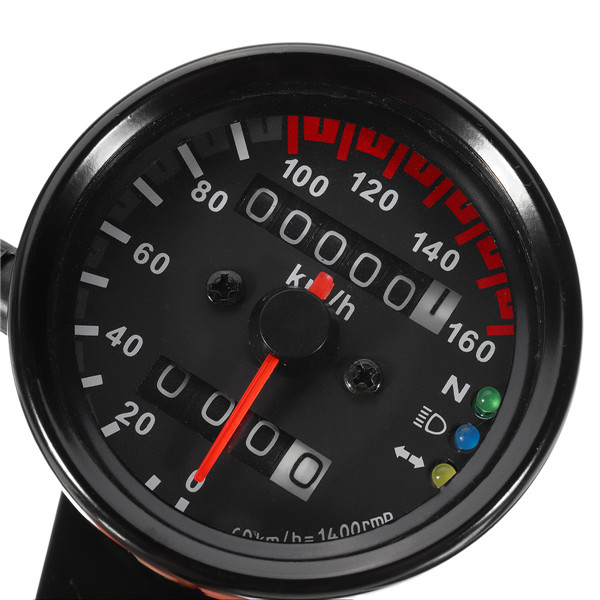 12V Motorcycle Speedometer Odometer LED Backlight Night Readable Speed Meter Motorbike Instrument