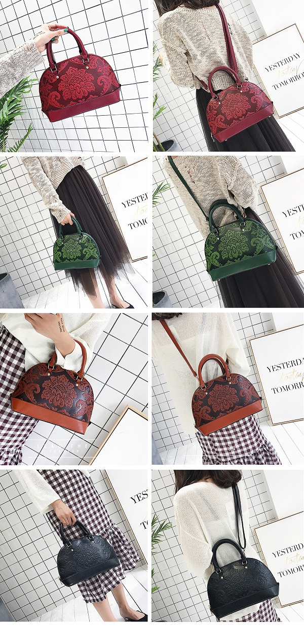 Women PU Leather Embroidery Handbag Vintage Crossbody Bag