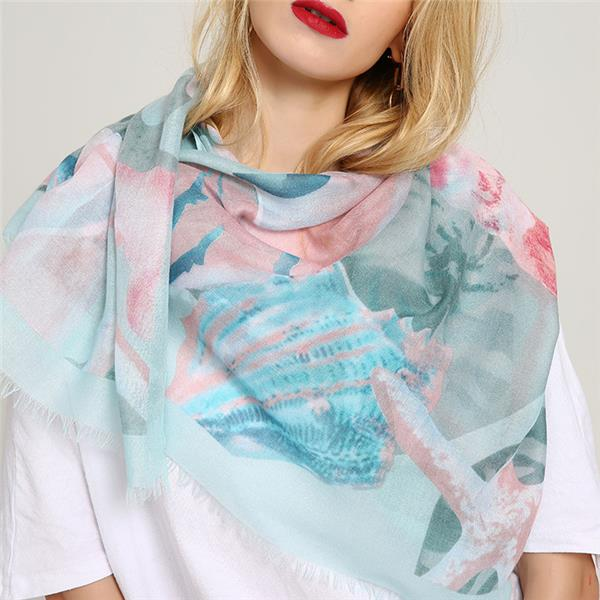 Women's Watercolor Scarf Lightweight Summer Shawl