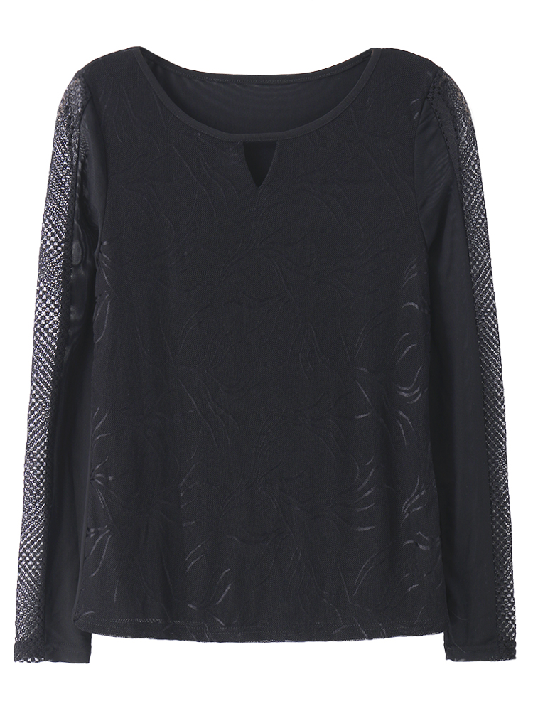Casual Women Lace Patchwork Long Sleeved Slim Basic T-Shirt