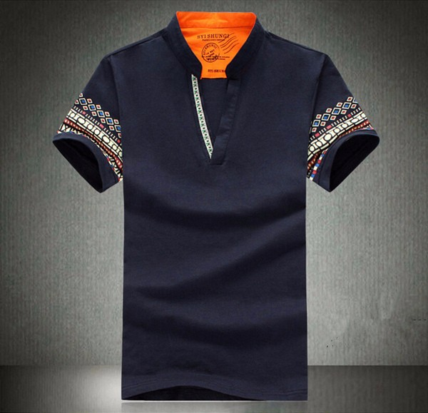 National Style Casual Printed Golf Shirt