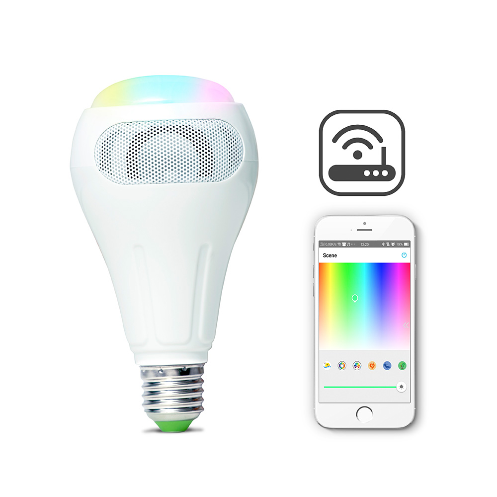 ARILUX® E27 12W RGB+W+WW Smart WiFi APP Control LED Light Bulb Speaker Work With Alexa AC110-240V