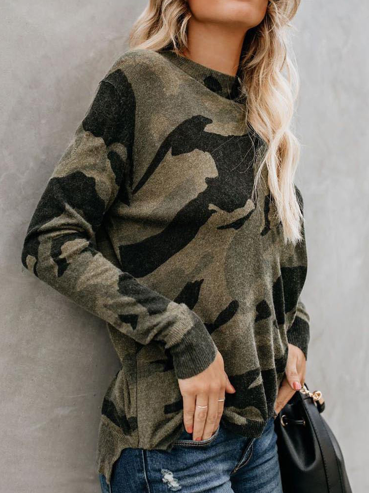 Women Casual Camouflage Print Long Sleeve T-Shirts