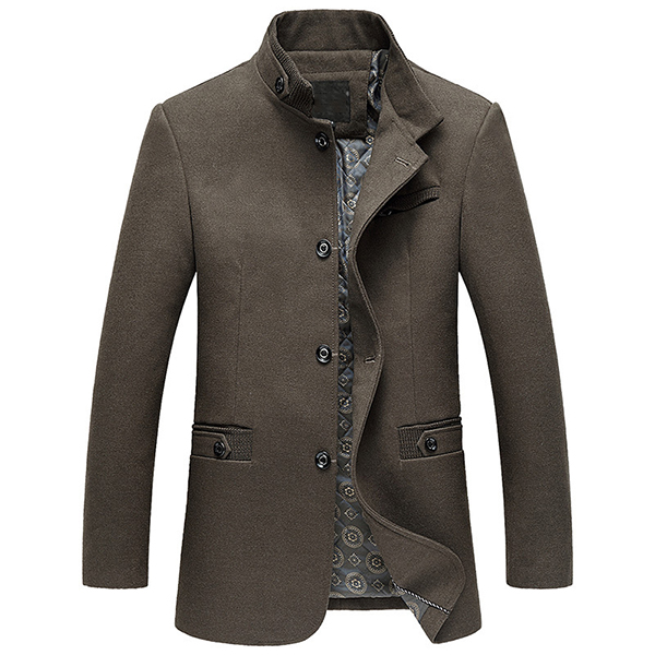 Mens Stand Collar Single Breasted Mid Long Woolen Jacket