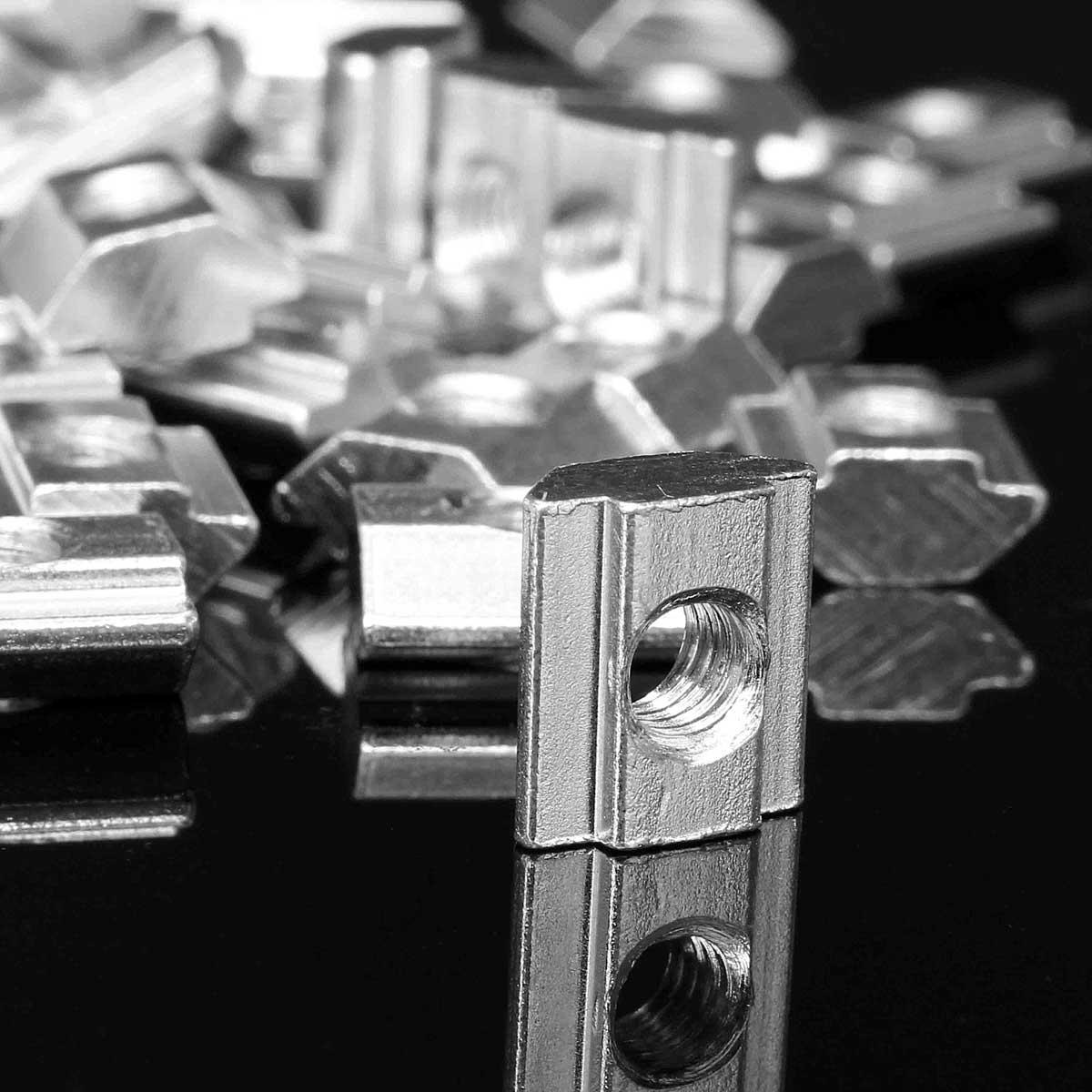 Drillpro 50pcs M5 T Sliding Nut Zinc Plated Carbon Steel T Sliding Nut for 2020 Aluminum Profile