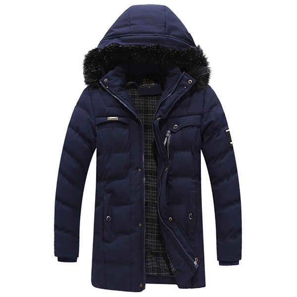 Mens Mid-long Winter Warm Thick Hooded Parka Jacket