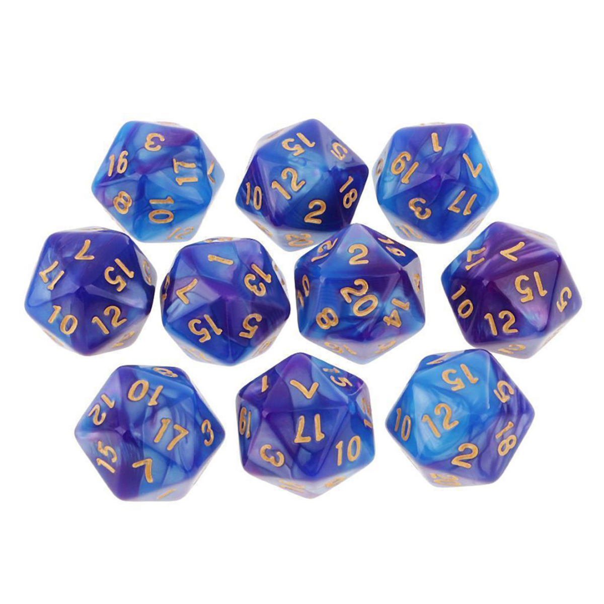 10pcs 20 Sided Dice D20 Polyhedral Dices Table Games EDC Gadget Playing Multisided Dice