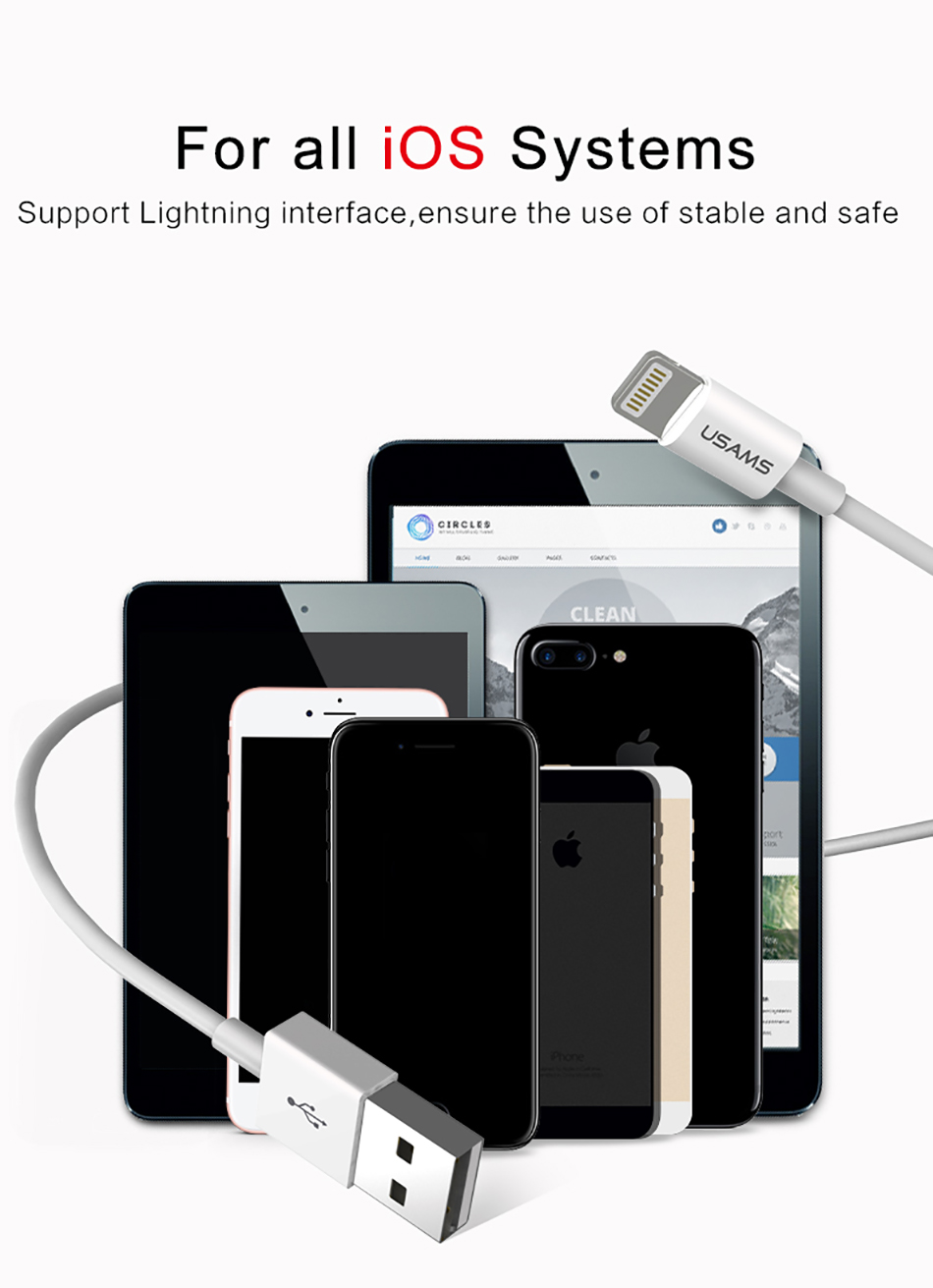 USAMS US-SJ144 2.1A Lightning for Fast Charging Data Cable 1.2m For iPhone X 8 8Plus 7 7Plus 6Plus