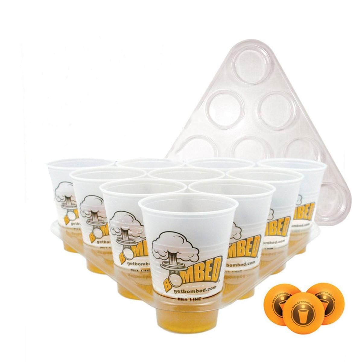 Image of Bier Pong Trinkspiel Spielzeug Satz 20 Cups 3 Bälle 2 Racks Weihnachtsfest Pub BBQ Geschenk