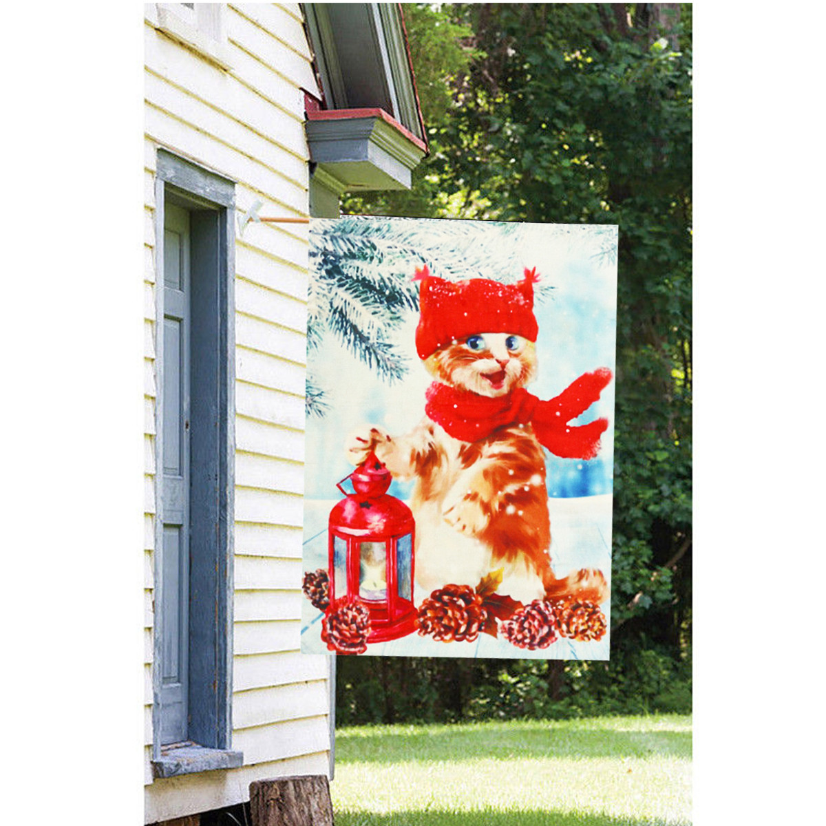 Christmas Decorations Garden Flag Winter Lantern Red Scarf Cat Double Sided Yard Banner