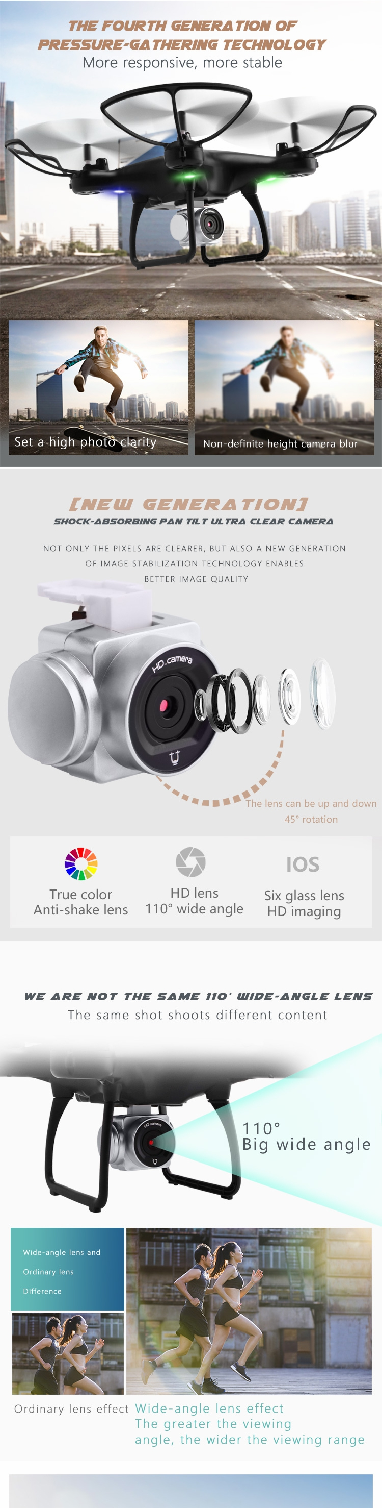 Utoghter 69701 Wifi FPV RC Drone Quadcopter with 0.3MP/2MP Gimbal Camera 22mins Flight Time - Photo: 2