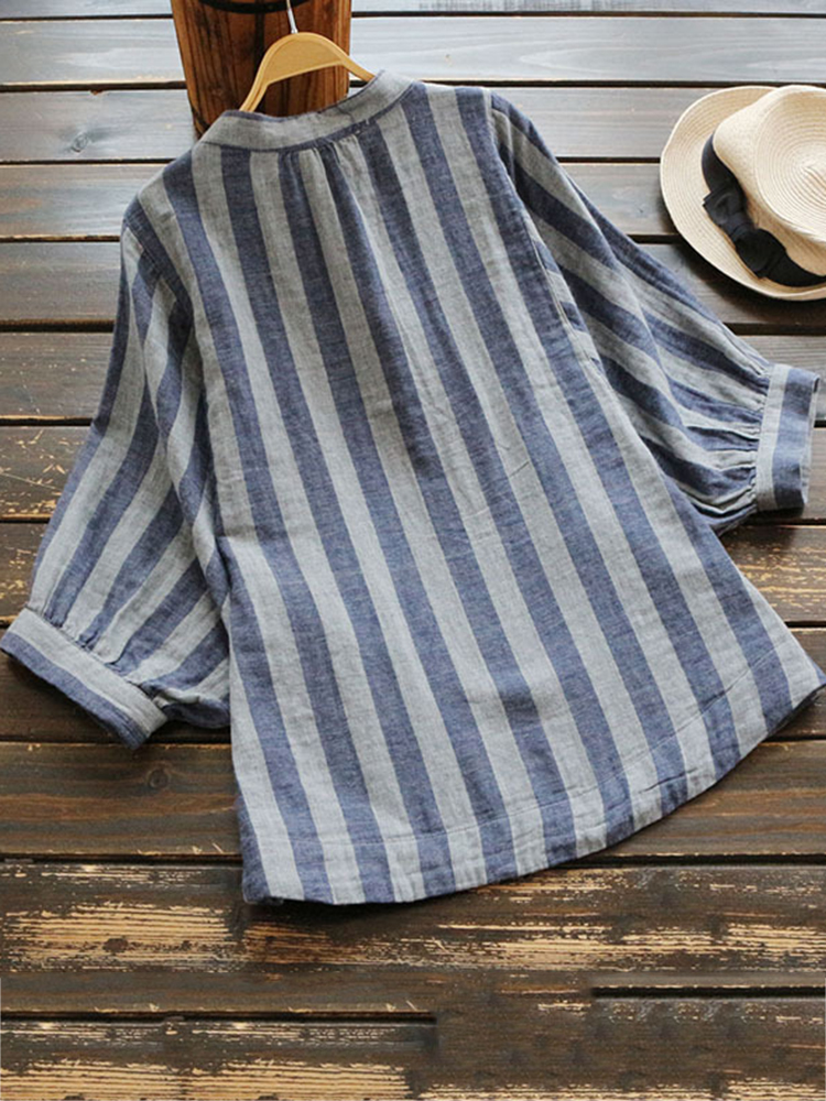 Casual Women Cotton Striped Stand Collar Long Sleeve Blouse
