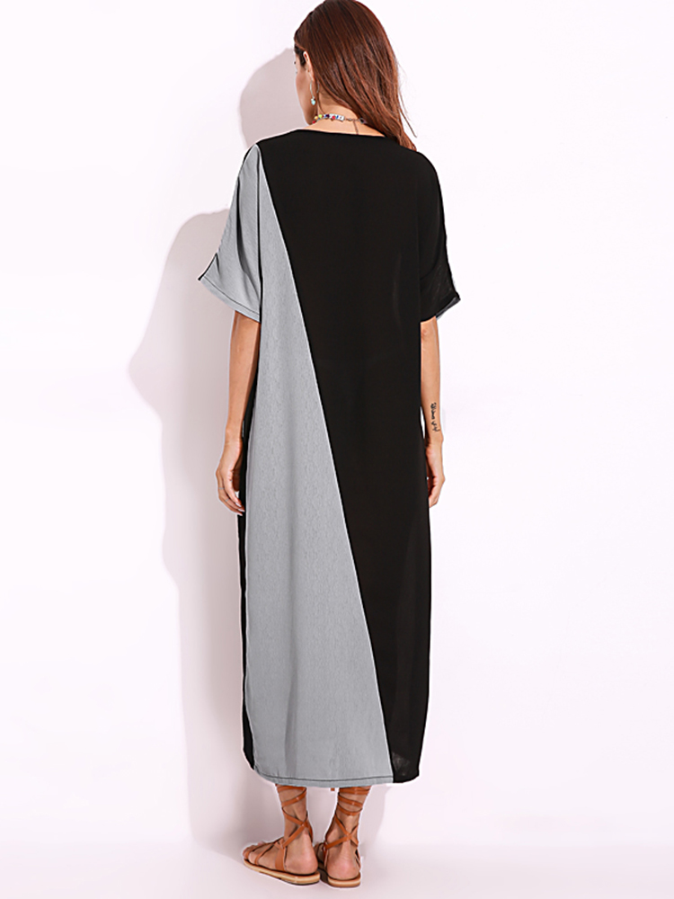 O-Neck Short Sleeves Patchwork Maxi Dress