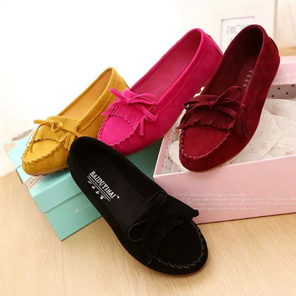 New Women Flats Shoes Soft Comfortable Fashion Slip-On Suede Flat Loafers Shoes