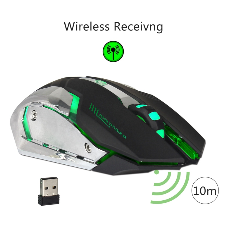 Zerodate 7 Colors 5 Buttons 2400DPI Rechargeable Wireless Backlight Ergonomics Optical Gaming Mouse