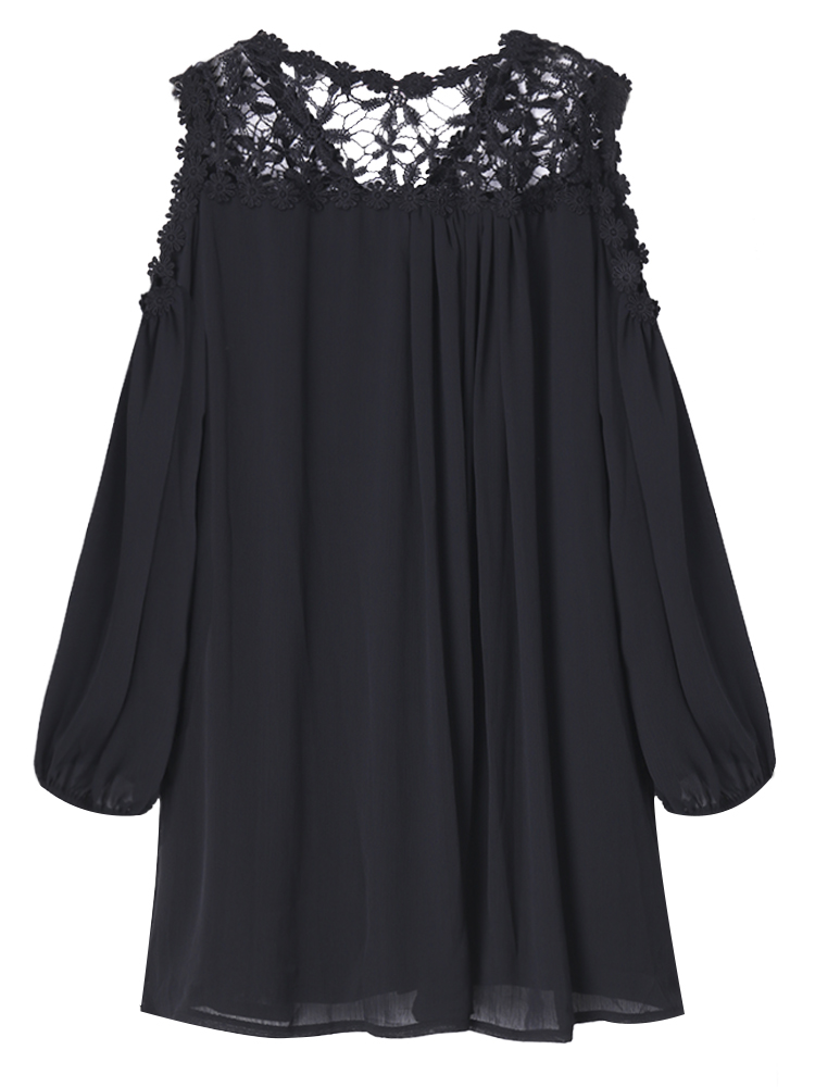 Sexy Women Off Shoulder Lantern Sleeve Lace Patchwork Chiffon Dress