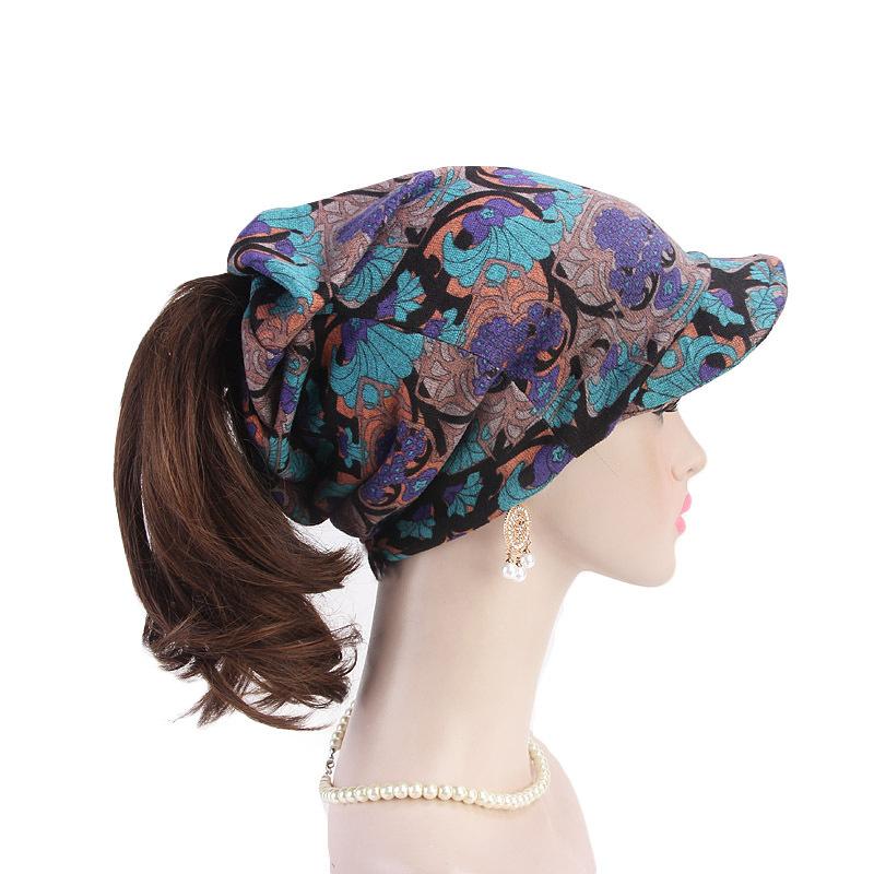 Women Cashmere-like Art Print Ponytail Brim Hat Scarf